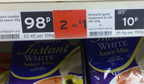 Sainsbury's Schwartz sauce, 10p each or 2 for �1. Bethany Apedaile.