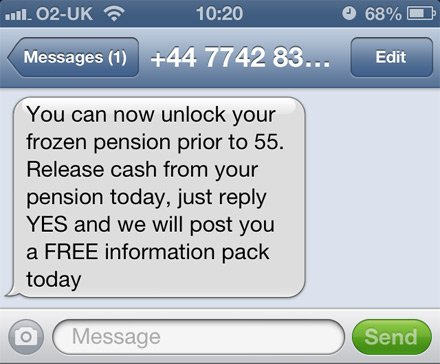 typical spam pension release text message