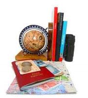 A globe and a passport